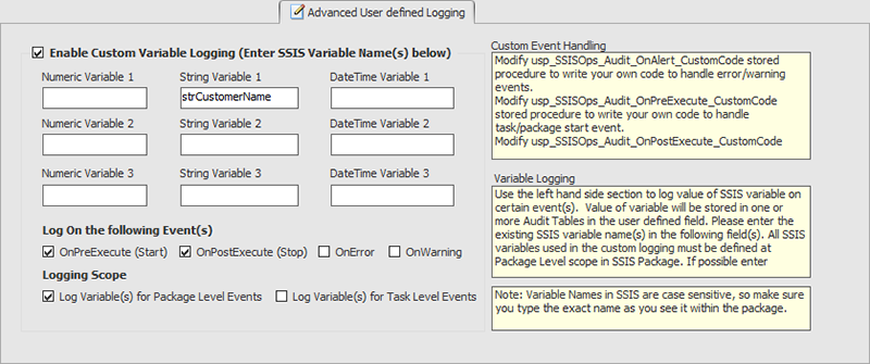 BI xPress Auditing Framework Wizard Advanced User defined Logging