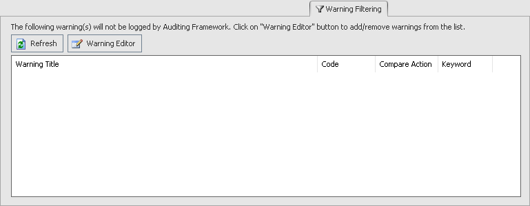 BI xPress Auditing Framework Wizard Warning Filtering