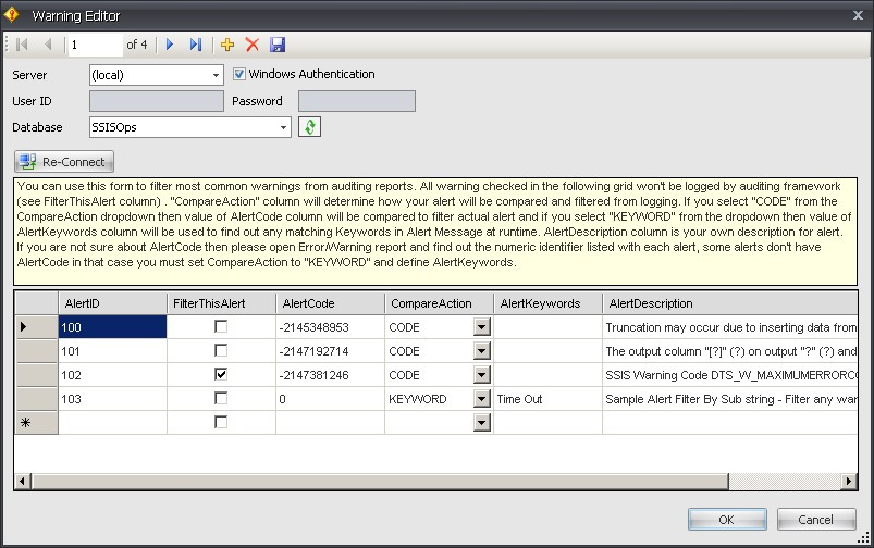 BI xPress Auditing Framework Wizard Warning Editor