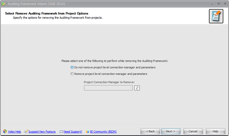BI xPress Auditing Framework Wizard Select Remove Auditing Framework from Project Options
