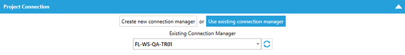 BI xPress Auditing Framework Workbench Project Connection Use existing connection