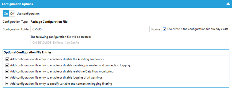BI xPress Auditing Framework Workbench Configuration Options