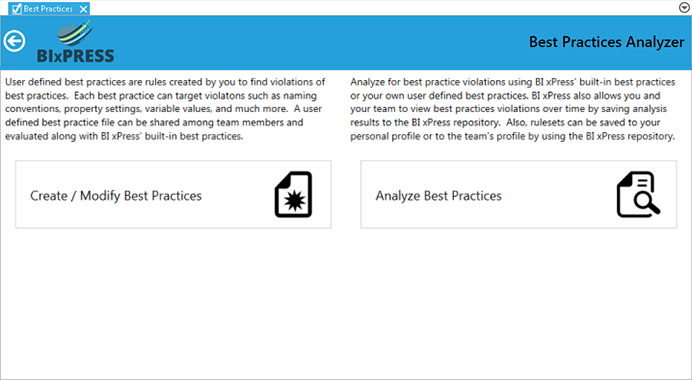 BI xPress Best Practice Analyzer