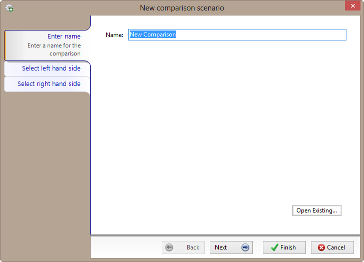 BI xPress BI Compare New comparison scenario window