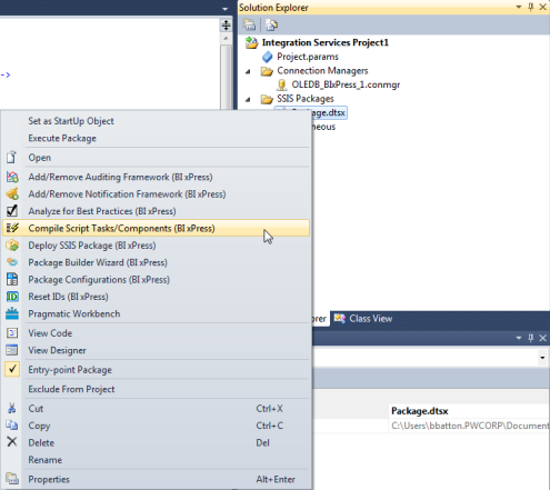 BI xPress Visual Studio Integration Compile Script Tasks/Components context menu option