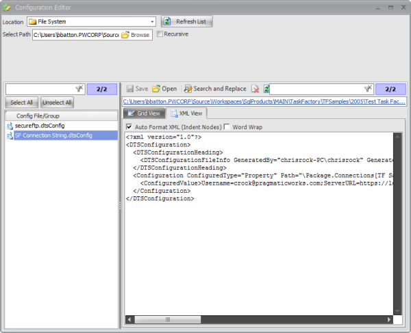 BI xPress Configuration Editor window XML view