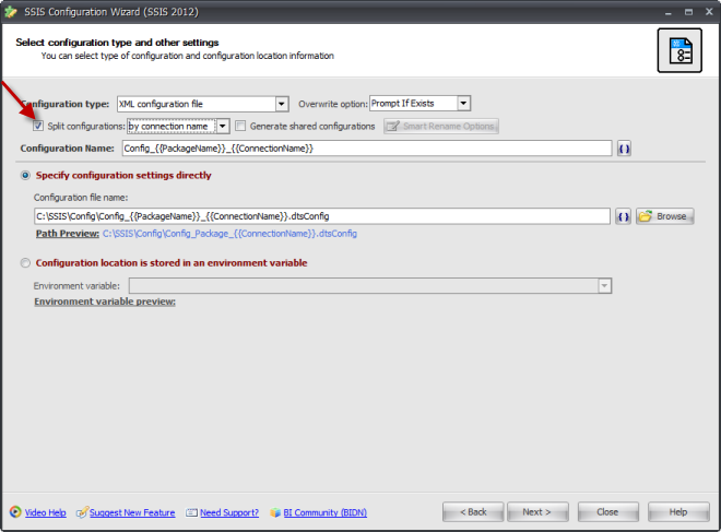 BI xPress SSIS Configuration Wizard Split Configuration option