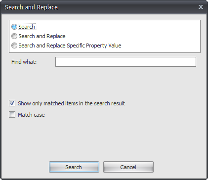 BI xPress Search and Replace window