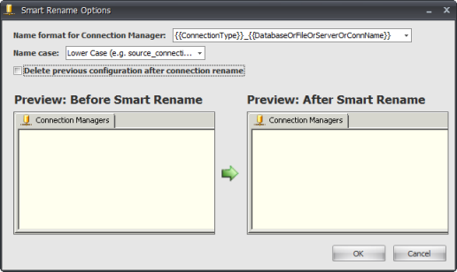 BI xPress Smart Rename Options window