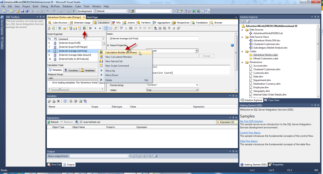 BI xPress MDX Calculation Builder select Calculation Builder (BI xPress) in Visual Studio