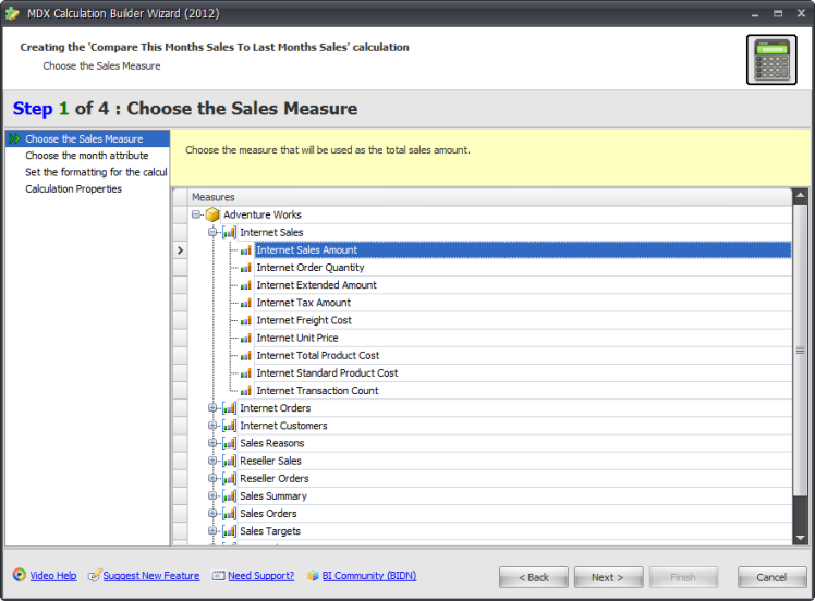 BI xPress MDX Calculation Builder Wizard Step 1