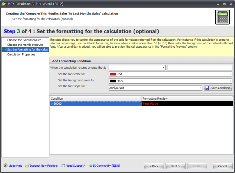 BI xPress MDX Calculation Builder Wizard Step 3