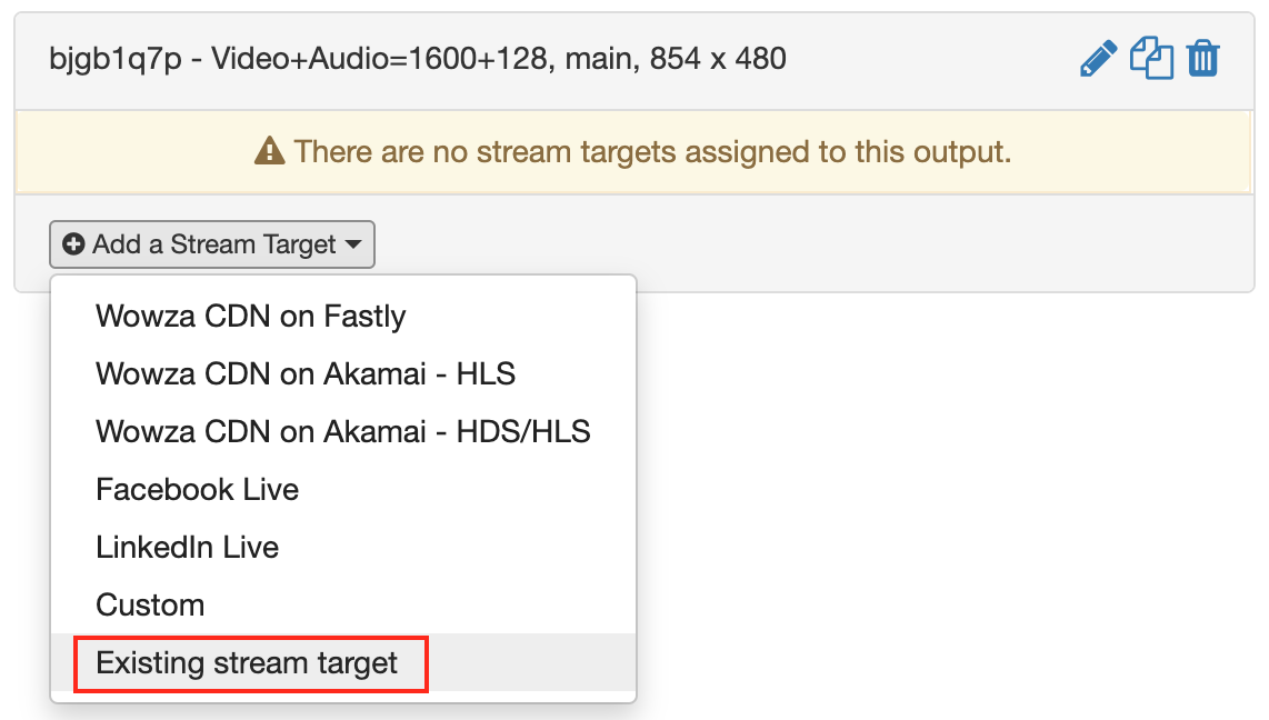 Add an existing stream target to a transcoder