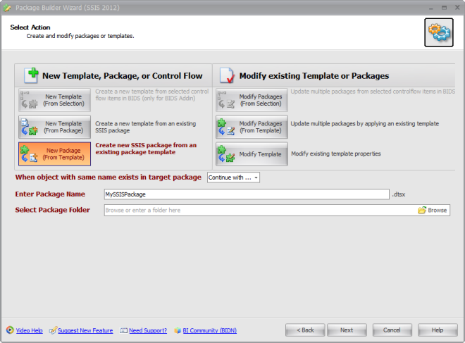 BI xPress Package Builder Wizard Select Action
