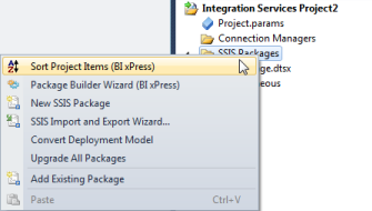 BI xPress Sort Project Items Visual Studio context menu option