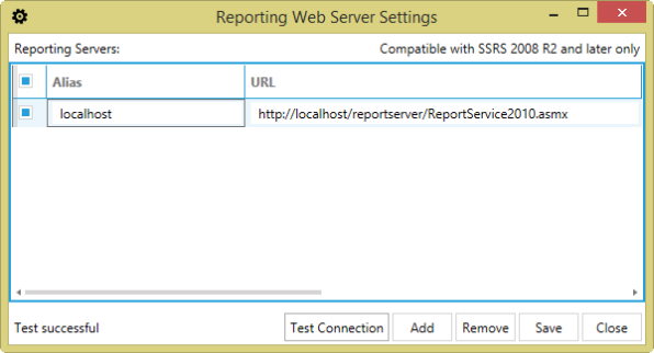 BI xPress Reporting Web Server Settings window