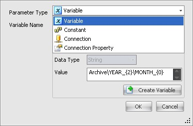 BI xPress Snippet Wizard Variable types