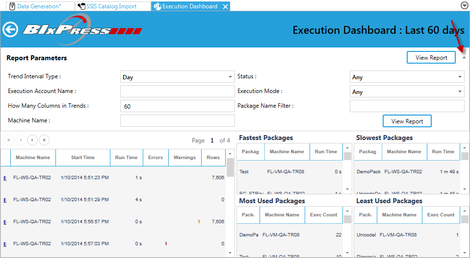 BI xPress Monitoring Console Execution Dashboard Report Parameters