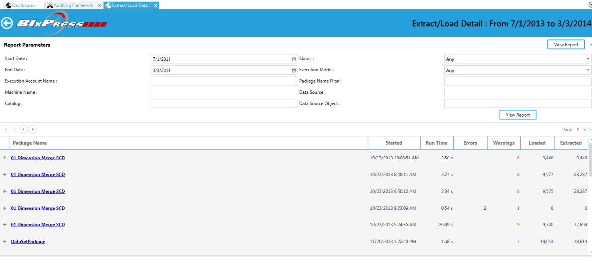 BI xPress Monitoring Console Extract/Load Detail