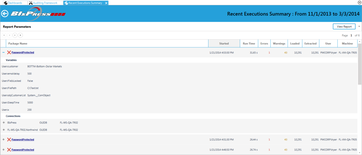 BI xPress Monitoring Console Recent Execution Summary