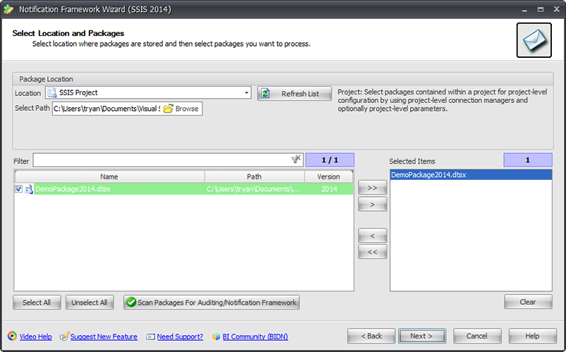 BI xPress Notification Framework Wizard Select Location and Packages