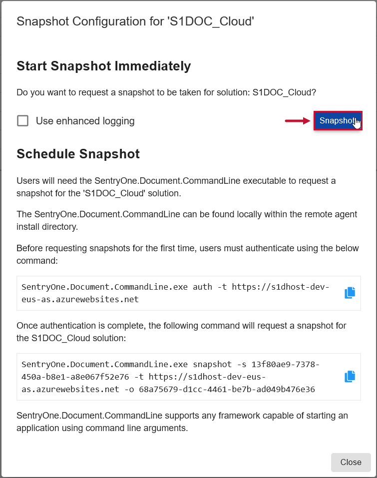 SentryOne Document Web Portal Solutions Dashboard Confirm Snapshot Request