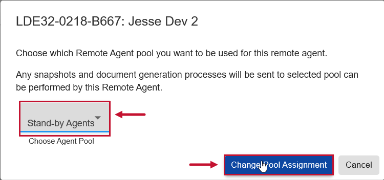 SentryOne Document Change Pool Assignment window