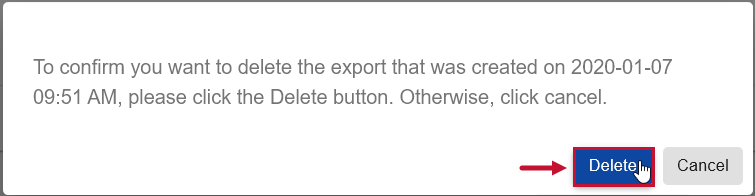 SentryOne Document Documentation Exports Delete export prompt