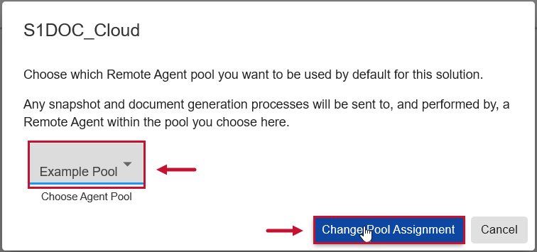 SentryOne Document Web Portal Assign to Pool window