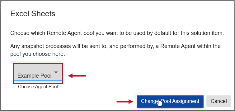 SentryOne Document Web Portal Solution Items Assign to Pool window