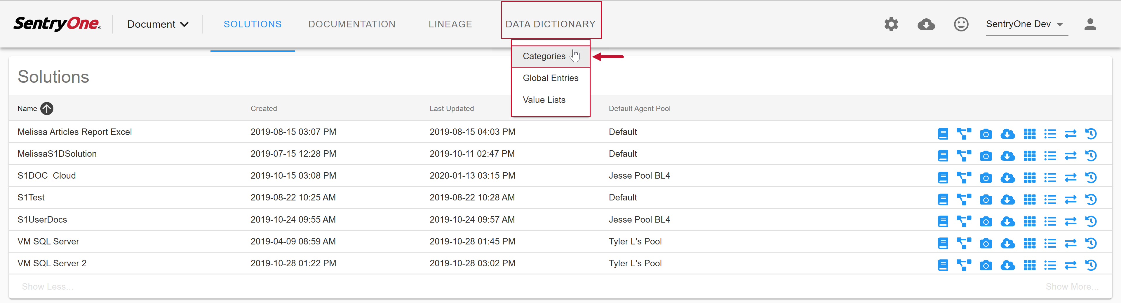 SentryOne Document select Data Dictionary Categories