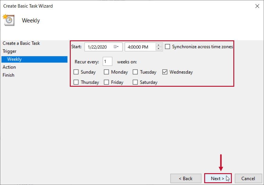 SentryOne Document Basic Task Wizard configure Trigger