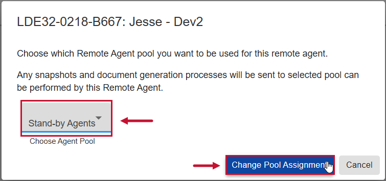 SentryOne Document Web Portal Change Pool Assignment window