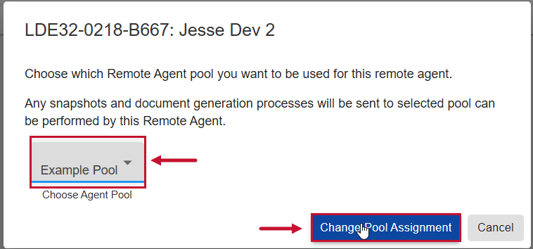 SentryOne Document Web Portal Change Pool Assignment