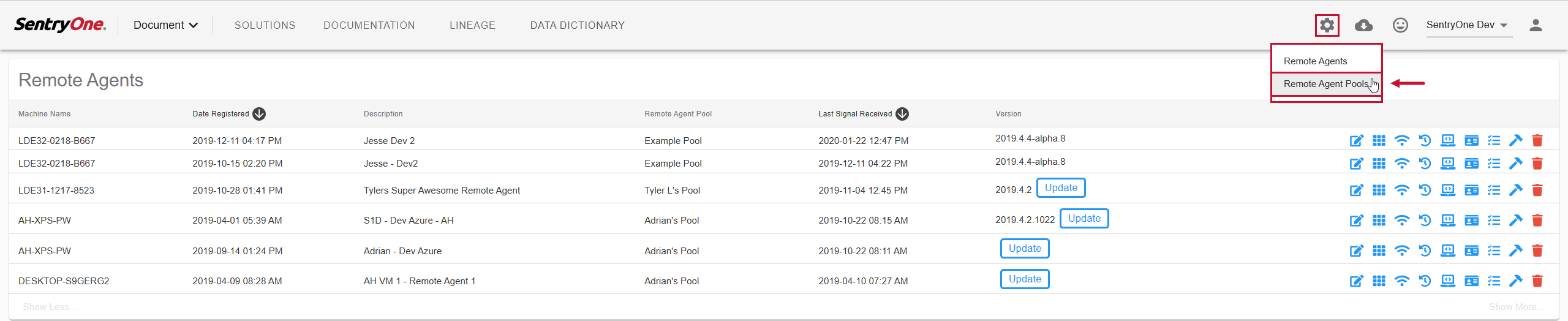 SentryOne Document Web Portal Manage > Remote Agent Pools