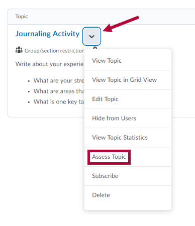 Assess Topic option in discussion topic context menu