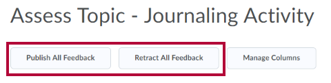Publish all feedback and retract all feedback links.