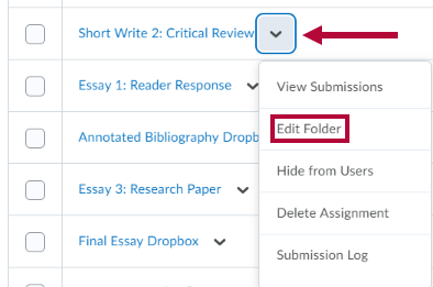 Assignment folder menu options with
