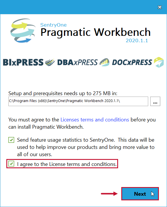 SentryOne Workbench Installation License terms and conditions