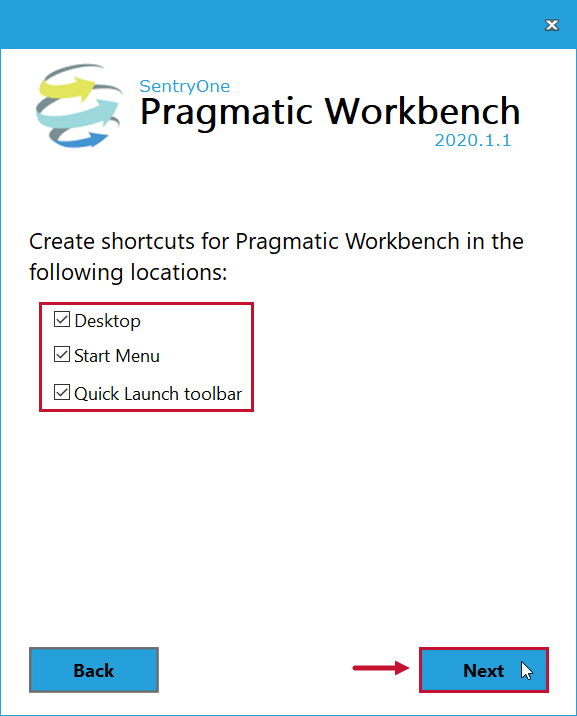 SentryOne Workbench Installation Create Shortcuts