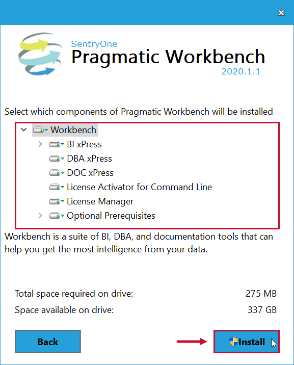 SentryOne Workbench Installation select Install
