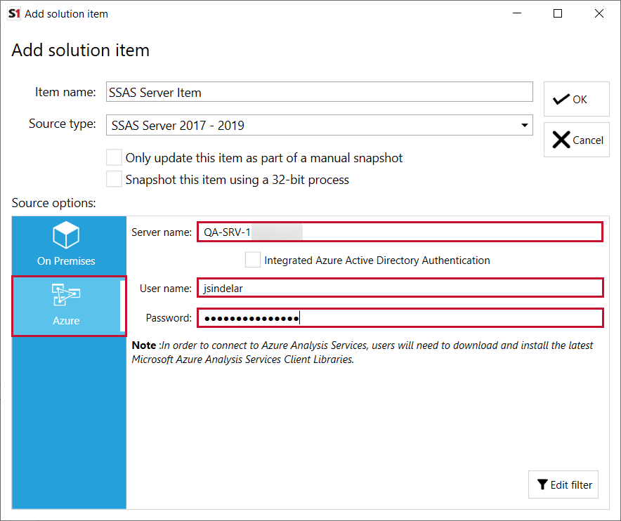 SentryOne Document Add Solution Item SSAS Azure