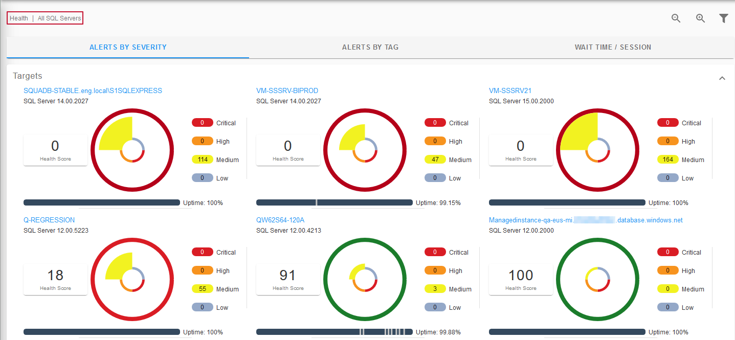 SentryOne Monitor Health View All SQL Servers Alerts by Severity