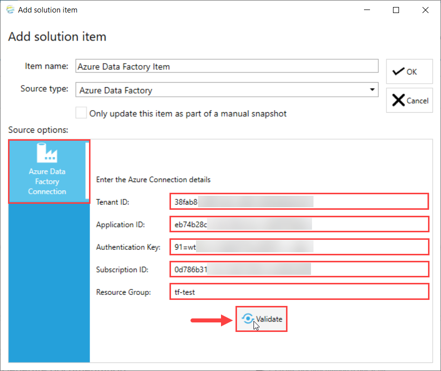 DOC xPress Add Solution Item Azure Data Factory Validate connection