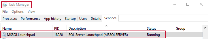 Task Manager verify that SQL Server Launchpad is running