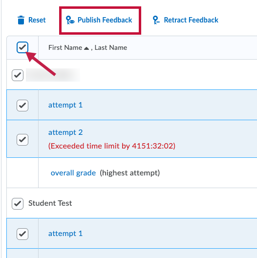 Indicates Publish Feedback link and Select All checkbox.