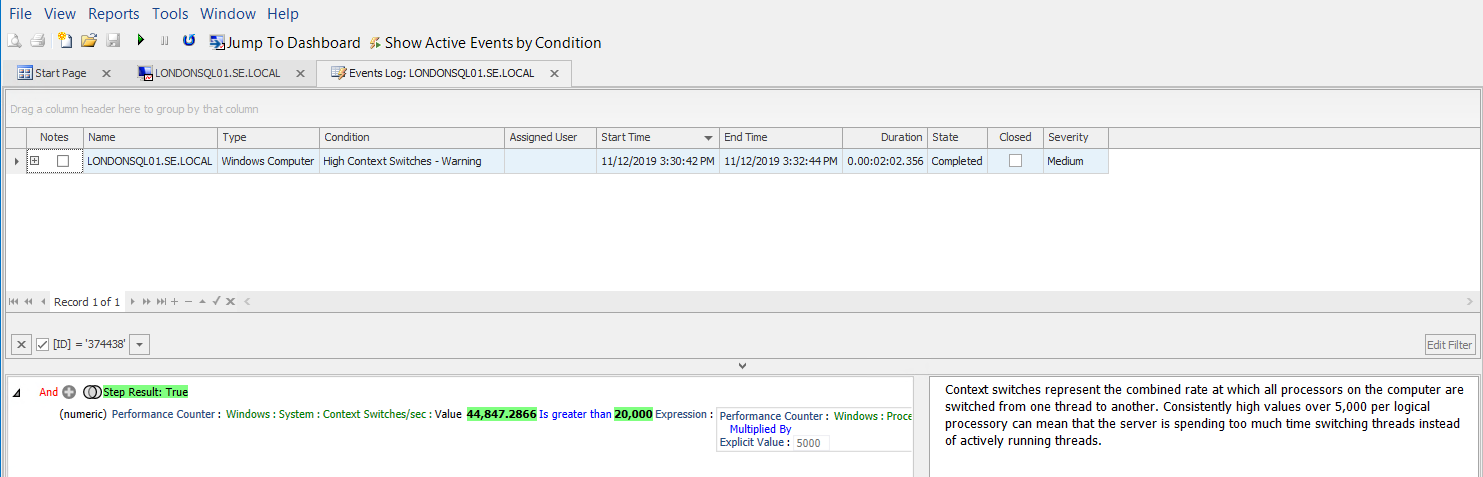 SentryOne Events Log for selected Advisory Condition