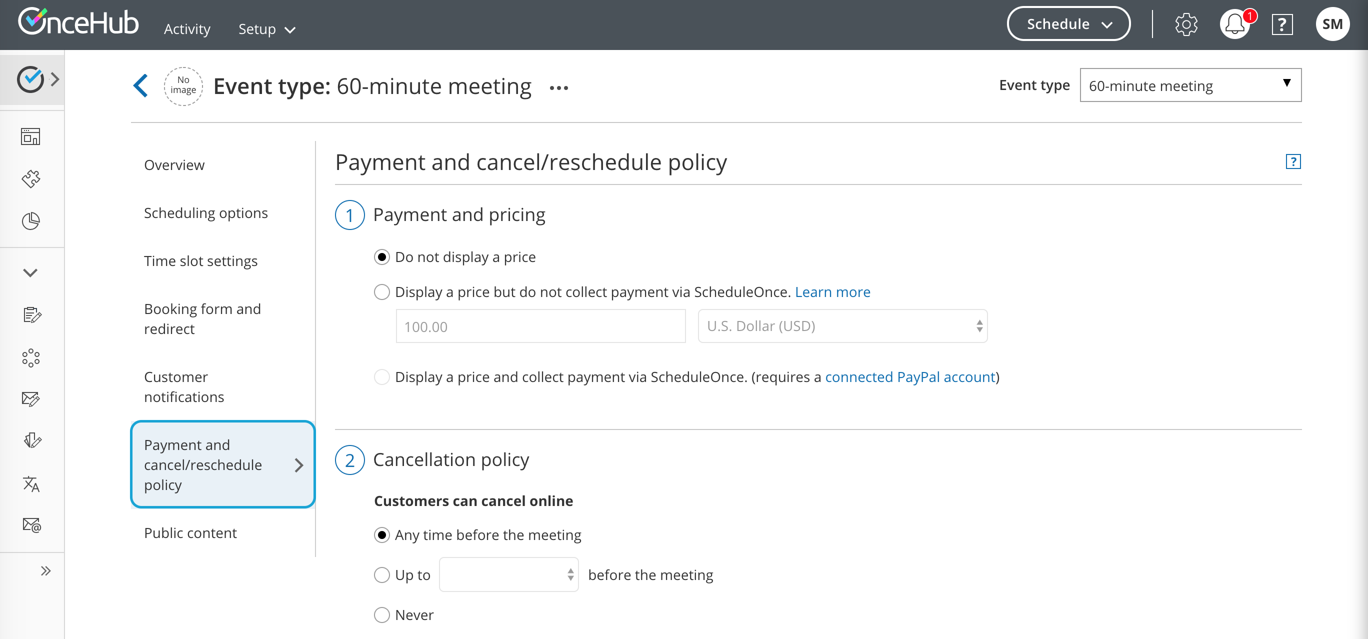 Figure 1: Payment and cancel/reschedule policy