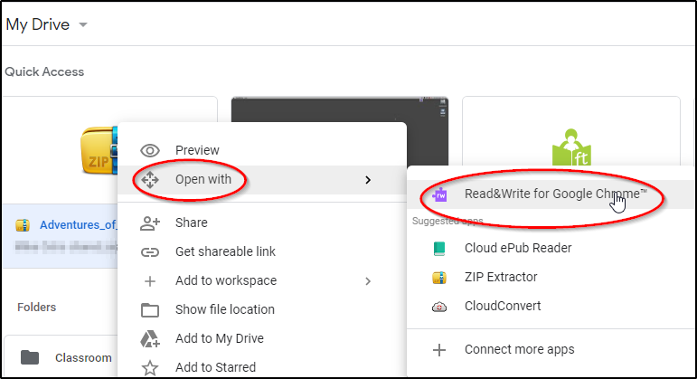 Open with Read&Write for Google Chrome
