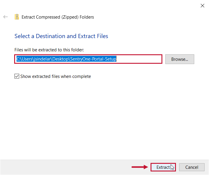 SentryOne Portal Configuration Select a Destination and Extract Files